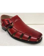 Style#JA17486 Mens Dress Sandals Red Closed