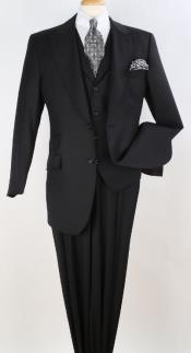 Mens Black Single Breasted Notch Lapel