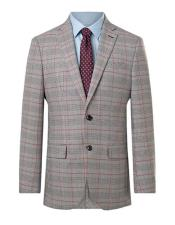 Suit Jacket Regular Fit Prince of Wales Red Overcheck