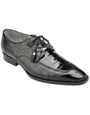 Lorenzo Split-toed Alligator Derby Shoes Style: B01 - Black