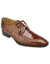 Alligator Peanut Brown Leather Derby Shoes