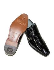 Oscar Double Monk Strap Alligator Shoes Style: B02 -