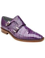 Oscar Double Monk Strap Alligator Mens Purple Dress Shoe