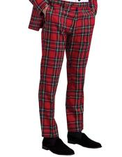 Tartan Polyster Fabric Dress Slacks Palid Window Pane Pattern