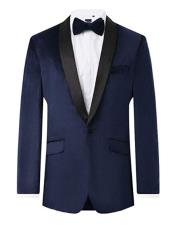 Mens Navy Single Breasted Shawl Lapel