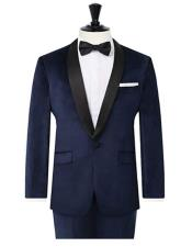 Navy Velvet 2 Piece Tuxedo Slim Fit Contrast Shawl