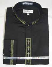 Black 2 Button Cuff Closure French Cuff Shirt