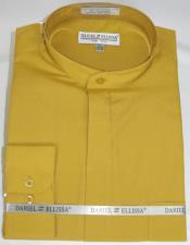 Ellissa Mens French Cuff Shirt Gold ~ Mustard