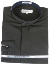 Black French Cuff No Collar 2 Button Shirt