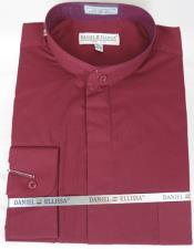 Ellissa Mens French Cuff Shirt Burgundy