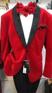 Red One Chest Pocket Dress Suit