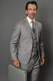 Grey 100% Wool Solid Pattern Side Vents Slim Fit