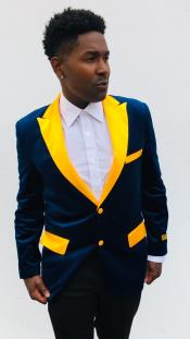 Navy Blue and Goldish Yellowish Lapel