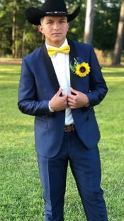 Single Breasted Shawl Lapel Suit Blue