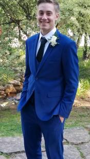 Single Breasted Notch Lapel Suit Navy Blue