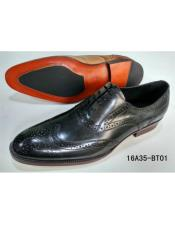 Mens Premium Leather Timeless Wing Tip Dress Shoe In