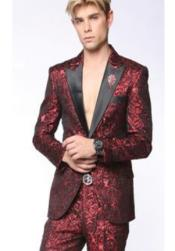 Single Breasted Peak Lapel Suit Red ~ Black