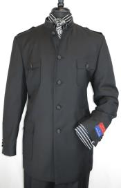 Black Five Satin Button Single Breasted Safari Style Suit