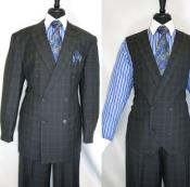 Diamond Mens Double Breasted 3 Piece Suit Jacket Charcoal