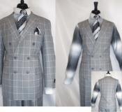 Diamond Mens Double Breasted 3 Piece Suit Jacket Silver