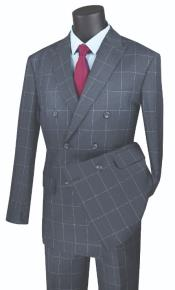 ~ Window Pane Double Breasted Suit Medium Gray