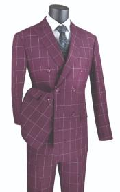 ~ Window Pane Double Breasted Suit Wine