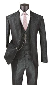 Floral Paisley Vested 3 Piece Suit In Pine