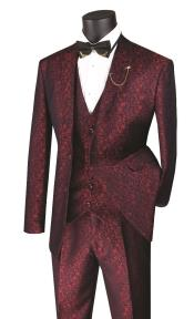 Floral Paisley Vested 3 Piece Suit In Ruby