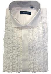 Ruffle Tuxedo Shirt in White