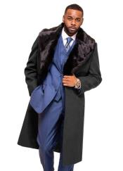 Grey Overcoat ~ Topcoat With Fur Collar in Cashmere