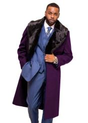 Burgundy Overcoat ~ Topcoat With Fur Collar in Cashmere