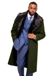 Olive Overcoat ~ Topcoat With Fur Collar in Cashmere