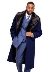 Navy Blue Overcoat ~ Topcoat With Fur Collar in
