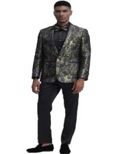 One Button Closure Floral Pattern Gold Slim Fit Tuxedo