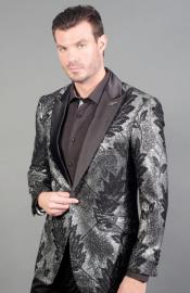 Metallic Finish Geo Print Peak Lapel Cheap Priced Designer
