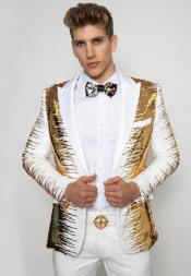 White ~ Gold Long Sleeve Two Flap Front Pockets