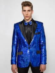 Blue Sequin Design Designer Fashion Blazer On Sale