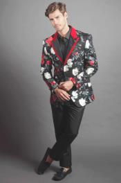 Fallen Roses Cheap Priced Rose Pattern Design Blazer