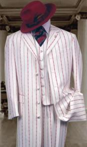 White ~ Red Pinstripe Fashion Style