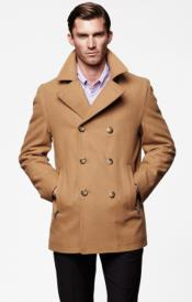Tan Six Button Double Breasted Peacoat