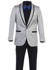 Mens White ~ Black Shawl Lapel