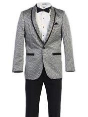 Mens White ~ Black Pattern Texture