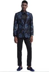 Blue and Black Single Breasted Shawl Lapel Slim Fit