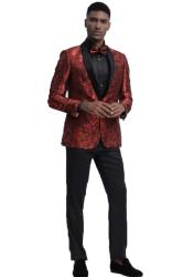 Red Slim Fit Two Flap Front Pockets Prom Tuxedo