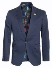 Cotton Stretch Slim Fit Blazer Navy