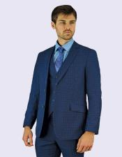 Giorgio Fiorelli Men's Navy Blue Check Suit