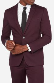 Burgundy Two Flap Front Pockets Notch Lapel Outfit New