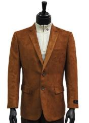 Men Cognac Micro Suede Notch Lapel