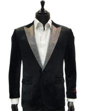 Velvet Dress Dinner Jacket With Crystals Sequin Lapel Blazer