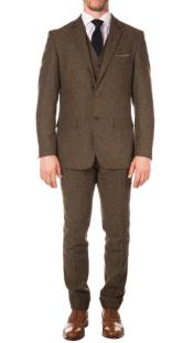 Modern Patterned Lining Two Button Closure Suit for Men